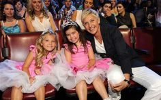 (L-R) Rosie McClelland and Sophia Grace Brownlee with Ellen DeGeneres, the host who made them famous