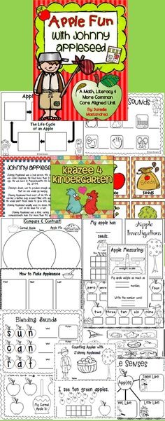 Johnny Appleseed - An Apple Unit Kindergarten Rocks, Kindergarten Themes, Preschool Ideas, Teaching Ideas, Apple Back To School, John Chapman, How To Make Applesauce, Daycare School, Apple Unit