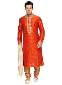 Buy Orange Prem Ratan Dhan Payo Kurta Pyjama online from the wide collection of readymade-kurta-pajama.  This Orange  colored readymade-kurta-pajama in Art Silk  fabric goes well with any occasion. Shop online Designer readymade-kurta-pajama from cbazaar at the lowest price.