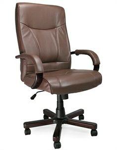 Asher Benjamin Studio Black Leather Wood Wheels Office Chair Mid