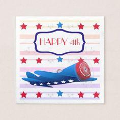 Vintage Airplane Airshow Aviator Stars Fireworks Napkin - decor gifts diy home & living cyo giftidea