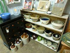 Crocks and bowls  at Angela's Attic in So. Beloit, Illinois