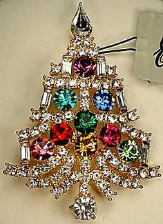 "Eisenberg Clear - Multi RS Tree - Clear tree with multi colored rhinestones for ornaments. Christmas, Goldtone with colored rhinestones in purple, teal, royal blue, emerald green, red, pink, golden topaz, fuchsia and lime. 2 3/8"" x 1 3/4"". Z"