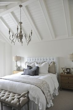 White, gray and beige bedroom
