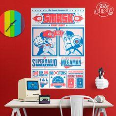 Vinilos Decorativos: Póster adhesivo Mario Bros vs Megaman #poster #videojuego #mario #videogame #lámina #vinilo #TeleAdhesivo Mario Bros., Fight Night, Poster Poster, Gaming, Adhesive, Vinyls, Videogames, Game