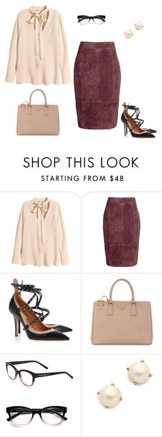 Suede Pencil Skirt by jpschwartz on Polyvore featuring H&M, Valentino, Prada and Kate Spade