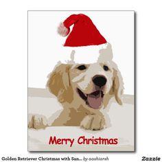#GoldenRetriever #Christmas with #Santa Hat #Postcard #MerryChristmas