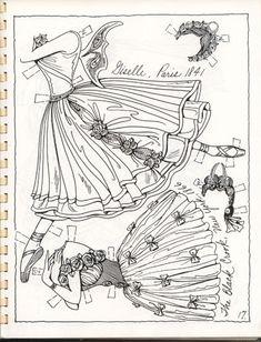 Art Social Studies Culture History Ballet 1800's Ventura paper doll coloring page