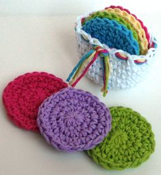 Etsy's NicoleMichael puts crochet scrubbies in a matching crochet basket