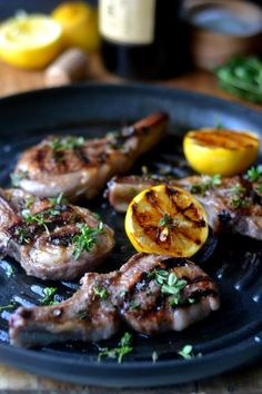 Lemon Thyme Lamb Chops, an elegant 30 minute meal that's healthy, and delicious. Grilled lamb chops are great for entertaining, or an easy romantic dinner. Lamb Chop Recipes, Meat Recipes, Dinner Recipes, Cooking Recipes, Grilling Recipes, Easy Romantic Dinner, Grilled Lamb Chops, Lamb Dishes, Whole 30 Diet