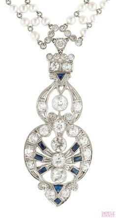 Art Deco diamond and pearl sautoir with calibre sapphire accents. Platinum, from Doyle & Doyle.