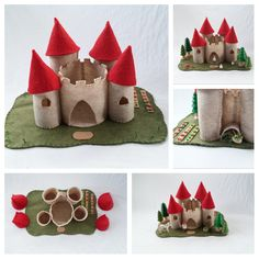 Red Turret Castle Playscape Play Mat pretend storytelling fantasy fairytale storybook open-ended princess knight make believe felt toy by MyBigWorld2015 on Etsy
