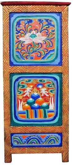 Elegant Hand Painted Tibetan Cabinet | Tibetan Furniture Hand Painted Auspicious  Symbols  Lotus
