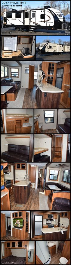 The Lacrosse 335BHT Travel Trailer by Prime Time Manufacturing features a rear bunkhouse, an outside kitchen and extra tall, very spacious slide-outs. In the main living area there is a slide with a u-shaped dinette and hide-a-bed sofa. The kitchen has an island, hutch and pantry for a huge amount of storage. Kids will love their own space in the rear bunkhouse with a sleep & play on the bottom and a flip-up bunk above. Across from that is another bunk with storage below.