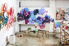 This is what happens when an artist (Alesandro Ljubicic) and a florist (Sean Cook of Mr. Alesandro's highly textured, abstract oil… Plant Painting, Oil Painting Abstract, Oil Paintings, Art Studio Organization, Seascape Art, Abstract Flowers, Affordable Art, Pictures To Paint, Bird Art