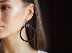 Beaded hoop earrings. Hoop earrings. Matt by LittleSiJewellery