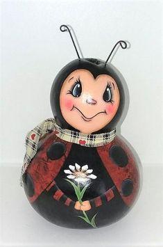 Hand Painted Gourds, Ladybug, Daisy, Christmas Ornaments, Holiday Decor, Design, Art, Art Background, Margarita Flower