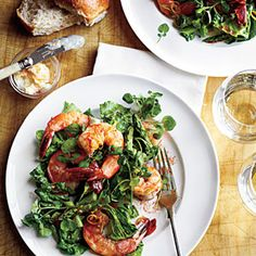 Romaine, Asparagus, and Watercress Salad with Shrimp -- perfect, fresh, seasonal, all-in-one dinner (or lunch, with a fruit) for H-Burn or Phase 3. Use 1 1/2 pounds shrimp to serve 4.