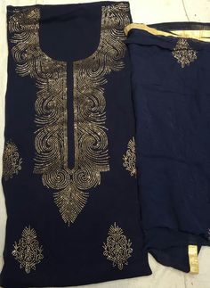 Black Colored Magnificent Sarwosky Worked Suit With Dupatta In Georgette