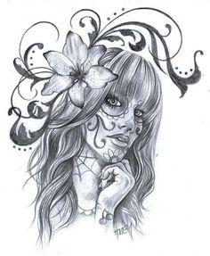 Sugar Skull Pin Up Girl Drawings Day of the dead pin up art sons and sugar girl - wetcanvas