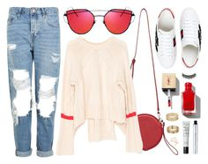 """""""Pop Of Red"""" by genuine-people ❤ liked on Polyvore featuring Topshop, Gucci, 100% Pure, Miss Selfridge, Battington, NARS Cosmetics, white and red"""