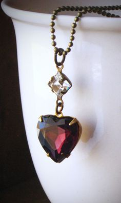 Purple Heart Necklace Rhinestone Crystal Amethyst