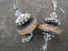 Wine Cork Earrings with Silver Accents Recycled by ShimmerJewelry