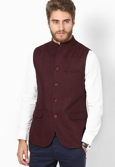 Red Slim Fit Ethnic Jacket at $190.00 (24% OFF)