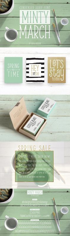 Condensed serif font, Minty March by Skyla Design on @creativemarket