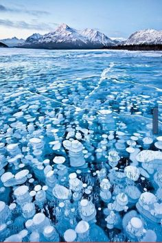 Lake Abraham, Canada. Bubbles become trapped as the water freezes.