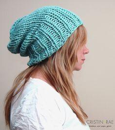 Wide Rim Knit Slouchy Hat in Seafoam
