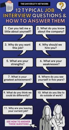12 Typical Job Interview Questions & How to Answer Them What are the coolest Jobs In New York? Check out some cool Work Pins we select for you guys and gals. Typical Job Interview Questions, Job Interview Answers, Job Interview Preparation, Job Interview Tips, Job Interviews, Management Interview Questions, Teacher Interview Questions, Interview Techniques, Prepare For Interview