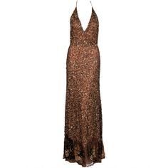 1stdibs | 1990's Valentino Couture Metallic Bronze Sequin Backless Gown