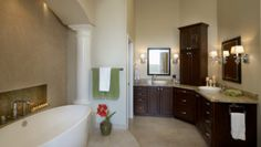 L Shaped Vanity Design Ideas, Pictures, Remodel, and Decor ( I love that niche next to the tub)