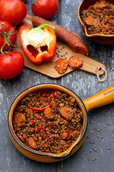 Lentilles vertes au chorizo, poivron et tomates - Amandine Cooking - The Best Authentic Mexican Recipes Batch Cooking, Healthy Cooking, Cooking Recipes, Healthy Recipes, Chorizo, Tostadas, Mexican Dinner Recipes, Enchiladas, Green Lentils