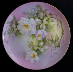 "Jean Sadler ""White Roses"" Hand Painted Porcelain Plate Masterpiece China Signed 