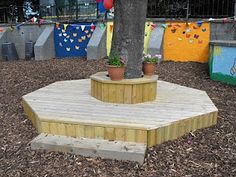 Creating a writing-friendly outdoor environment — Creative STAR Learning Natural Playground, Outdoor Playground, Playground Ideas, Outdoor Play Spaces, Outdoor Fun, Outdoor Ideas, Outdoor Education, Outdoor Learning, Bench Around Trees
