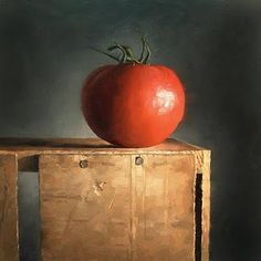 """Daily Paintworks - """"Tomato Pedestal"""" by Michael Naples"""