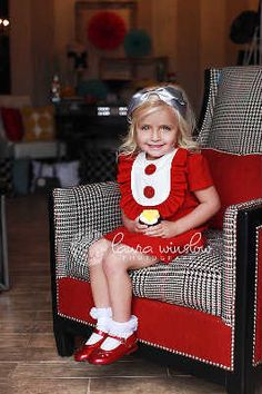 Retro  1960's style  Red Layla dress... with bib and ruffle-children clothing