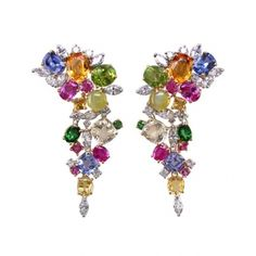 Gold-and-platinum earrings with multicolored stones and diamonds from Oscar Heyman, 800-642-1912.