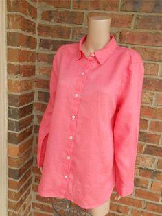 J JILL Love Linen Blouse Size L Women Tunic Shirt Top Long Sleeve Pink #JJill #Blouse #Casual