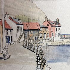 drawings - A quick demo piece to Finingley Art Society last weekthis is Staithes Watercolor Architecture, Watercolor Landscape Paintings, Pen And Watercolor, Landscape Drawings, Art Drawings, Landscapes, Sketch Painting, Sketch Art, Sketches