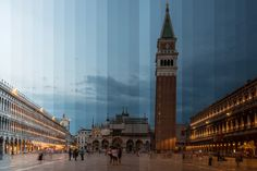"Venice_Italy Photographer Richard Silver did just this with his ""Time Sliced"" project. The photographs in this project show iconic buildings and each photo in this project is made from 36 photos taken at intervals and spliced together to make a full day to night transition."
