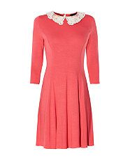 Coral (Orange) Coral 3/4 Sleeve Crochet Collar Skater Dress | 302378683 | New Look