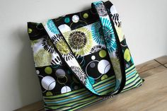 Jazzy Tote Bag Handmade with retro style Michael Miller Fabrics in Lagoon Black Lime and Turquoise