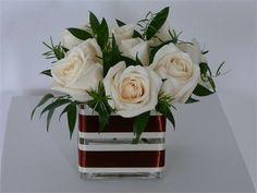 white roses, italian ruscus, fern Italian Ruscus, Ferns, White Roses, Flower Designs, Flower Arrangements, Centerpieces, Bloom, Elegant, Flowers