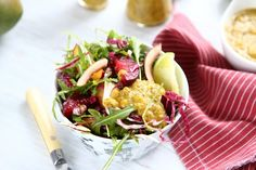 Arugula, Radicchio and Plum Salad with Mango Chia Dressing#nutrition#recipes
