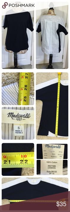 NWT! Madewell oxford panel tee New with tags!  From spring 15 line. Madewell oxford panel tee.  A swingy open-back T-shirt in a mix of soft jersey and crisp shirting fabric. Breezy and just a bit unexpected.   Slightly oversized, split back. Cotton. Machine wash. Madewell Tops