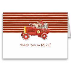 Retro Sock Monkey w Fire Engine Baby Boy Gifts Greeting Card