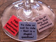 12 Funny Motorcycle Quotes Wine Charms for the by FortySevenGems, $23.00